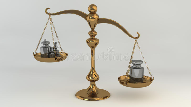 Brass scale with masses on cups stock illustration