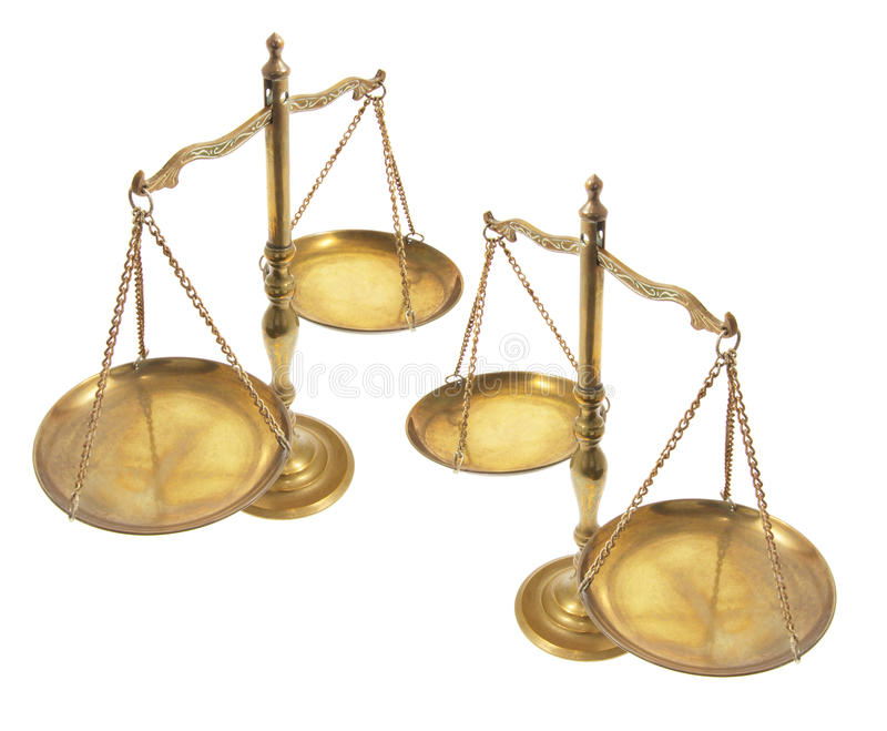 Brass Scales. On Isolated White Background royalty free stock photos