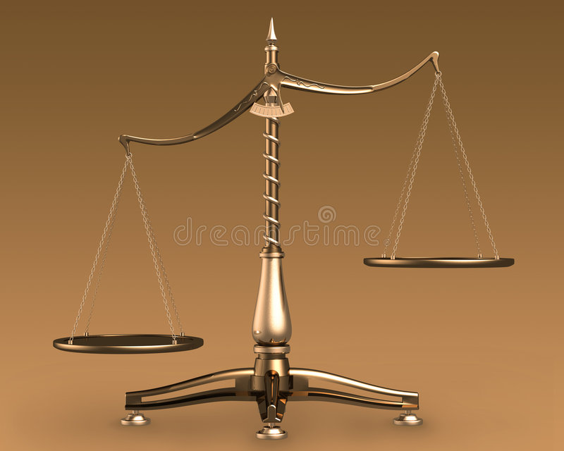 Brass scales 3D concept. Big brass empty scales unbalanced conceptual on brown background