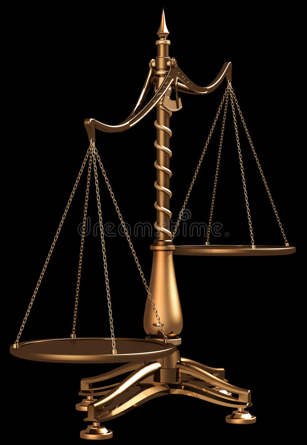 Brass scales isolated royalty free illustration