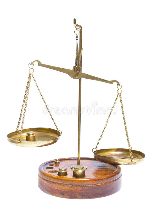 Brass scales of justice. stock photography