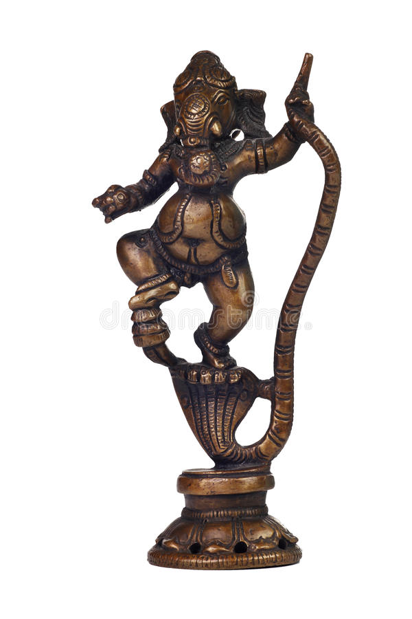 Brass sculpture of Ganesha. Brass figurine of Hindu god Ganesh isolated on white royalty free stock photography