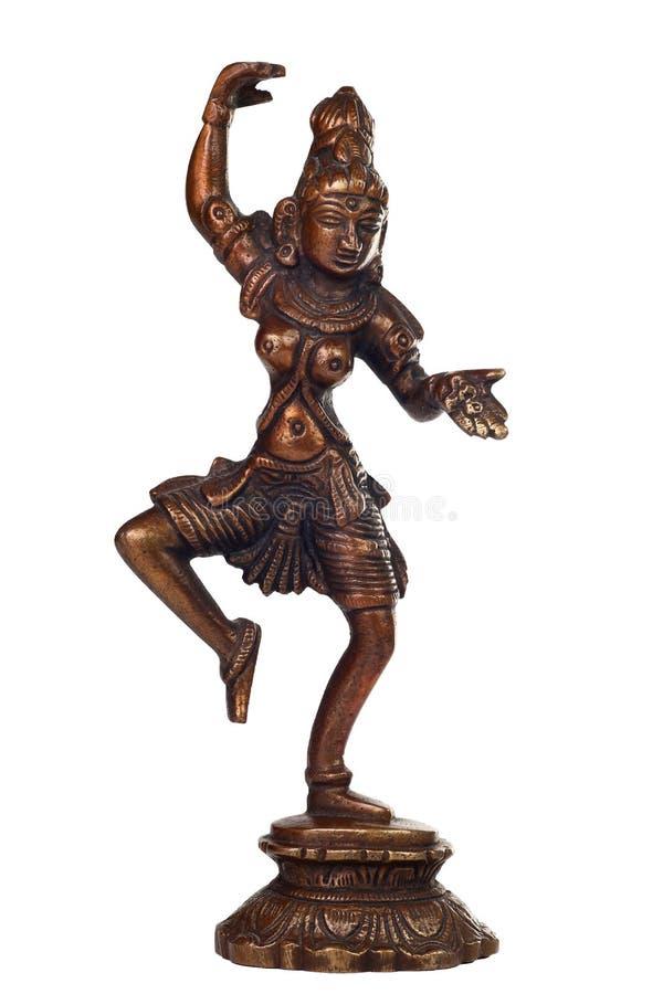 Brass sculpture of Shiva. Brass figurine of Hindu god Shiva isolated on white royalty free stock photo