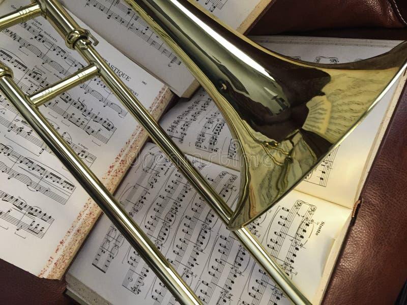 Brass Trombone and Classical Music 5 stock photo