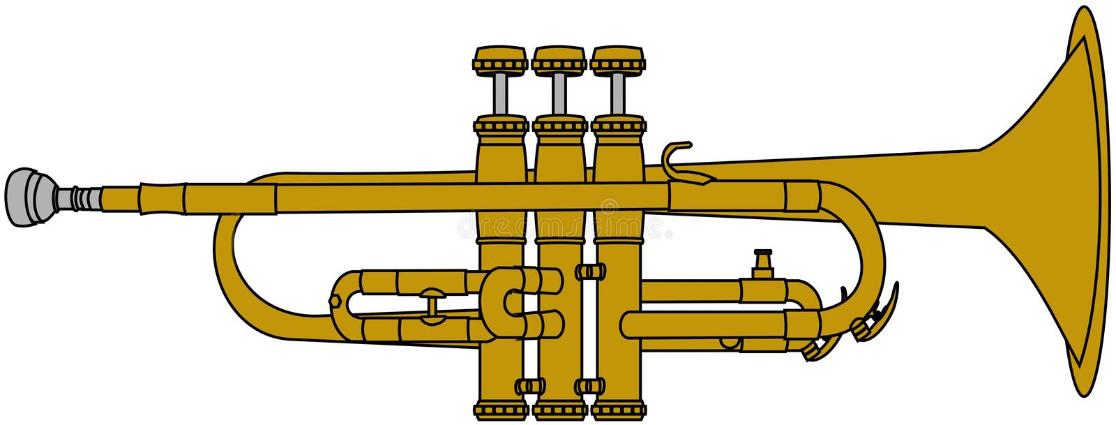 Brass trumpet. This illustration depicts a brass trumpet vector illustration
