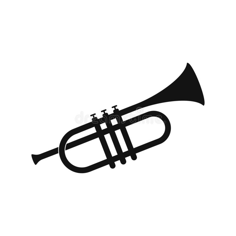 Brass trumpet icon. Philharmonic orchestra device isolated on white background. Wind musical instrument concept. Vector illustration EPS 10 royalty free illustration