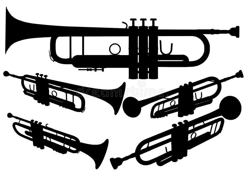 Brass Trumpet Vector 02. Classical Brass Trumpet Illustration Vector stock illustration