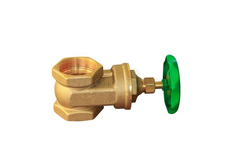 Brass valve with green knob stale in a factory plumber isolated on white background and clipping path royalty free stock images