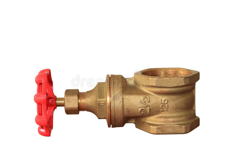 Brass valve with red knob stale in a factory plumber isolated on white background and clipping path.  stock image