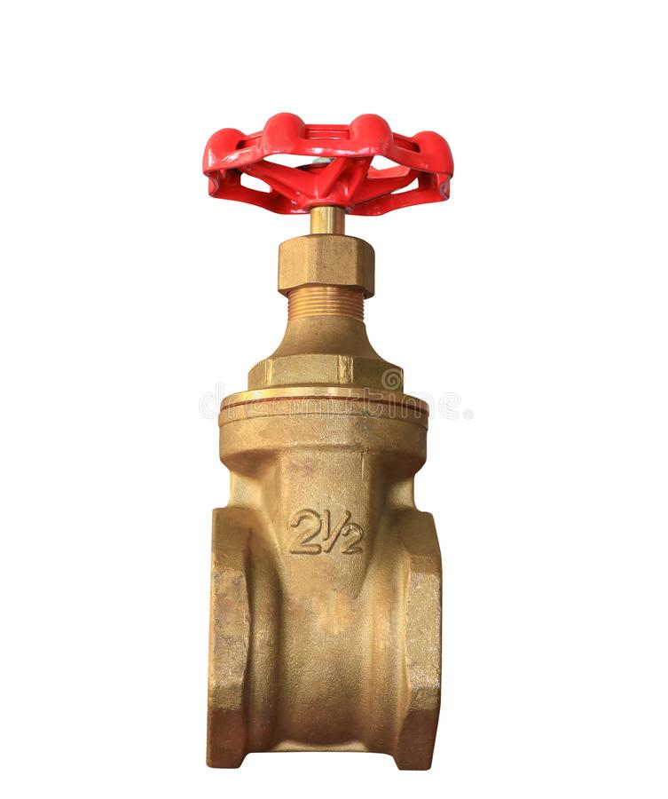 Brass valve with red knob stale in a factory plumber isolated on white background and clipping path.  royalty free stock photo
