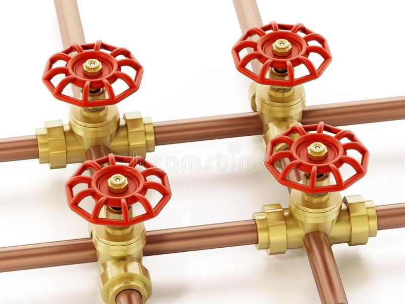 Brass water valves and pipes isolated on white background. 3D illustration stock illustration