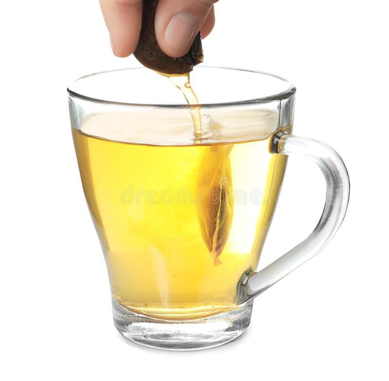 Brassage de la boisson chaude dans la tasse en verre utilisant le sac à thé, sur le fond blanc photographie stock libre de droits
