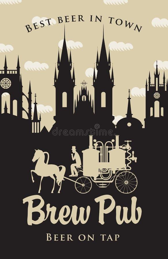 Brasserie avec le chariot de cheval dans la vieille ville illustration de vecteur