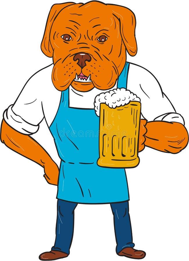 Brasseur Mug Mascot Cartoon de chien de Bordeaux illustration de vecteur