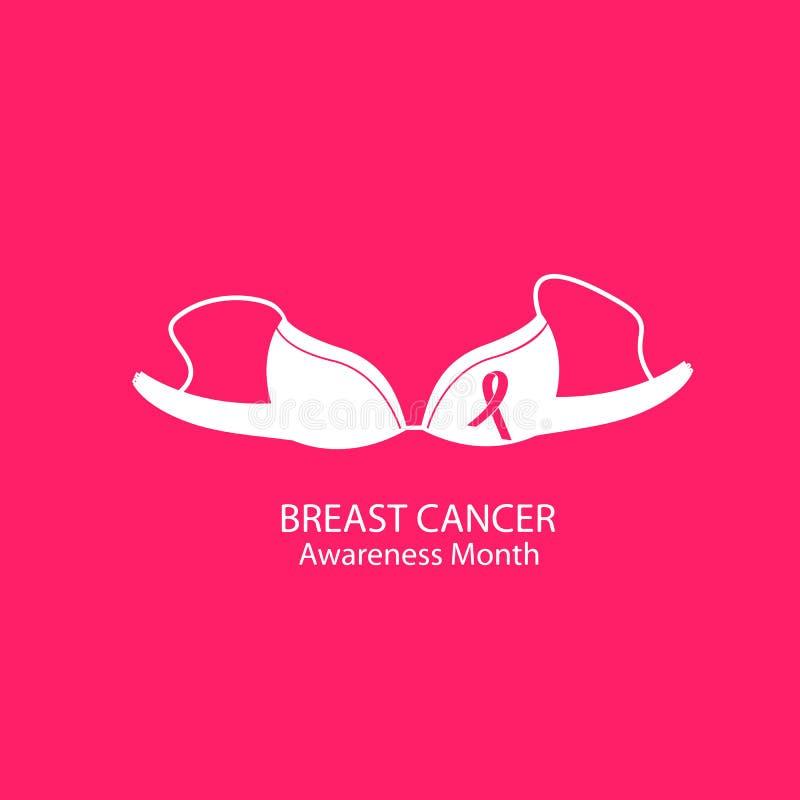 brassière Vrouwen` s ondergoed Het nationale concept van de de Voorlichtingsmaand van Borstkanker vector illustratie