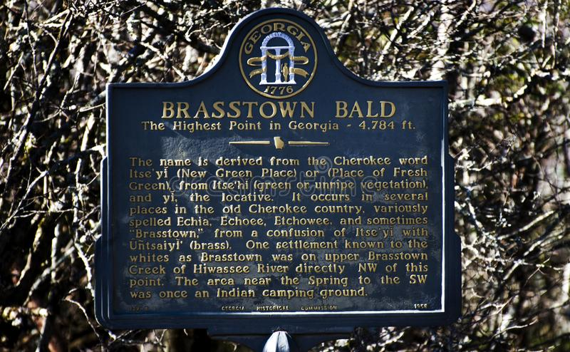 Brasstown Bald Georgia Historic Marker royalty free stock images