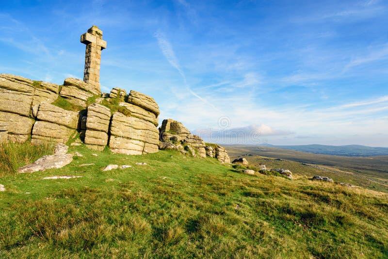 Brat Tor on Dartmoor. A stone cross at the top of Brat Tor on Dartmoor National Park in Devon stock photos