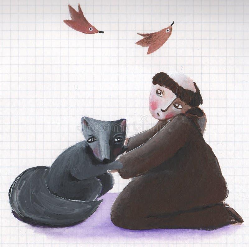 brata Francis świętego wilk ilustracja wektor