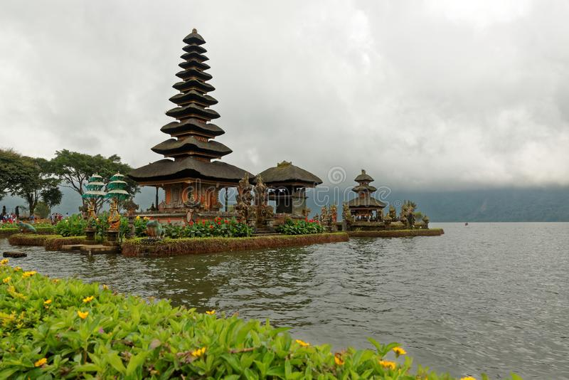 Bratan Temple in Bali. Pura Ulun Danu Beratan, or Pura Bratan, is a major Shaivite water temple on Bali, Indonesia. The temple complex is located on the shores royalty free stock photo