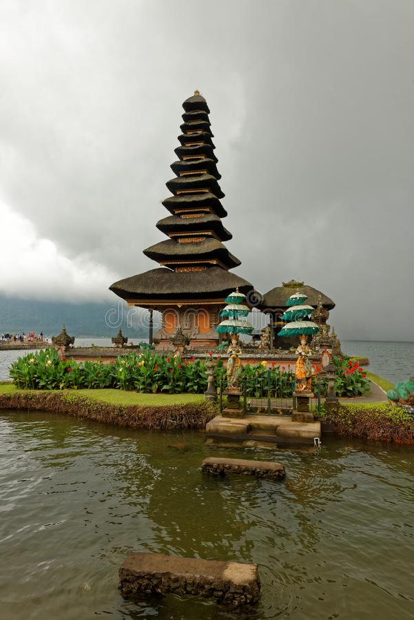 Bratan Temple in Bali. Pura Ulun Danu Beratan, or Pura Bratan, is a major Shaivite water temple on Bali, Indonesia. The temple complex is located on the shores royalty free stock images