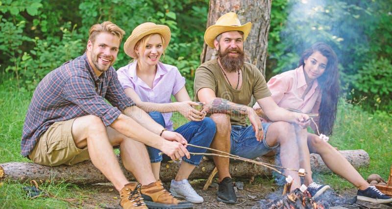 Brateibischgrill Freunde genießen Wochenendengrill in der Waldfirma, die Freunde picknicken oder grillen nahe lizenzfreies stockfoto