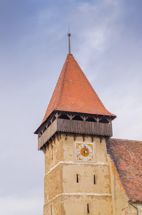 Brateiu versterkte kerk stock fotografie