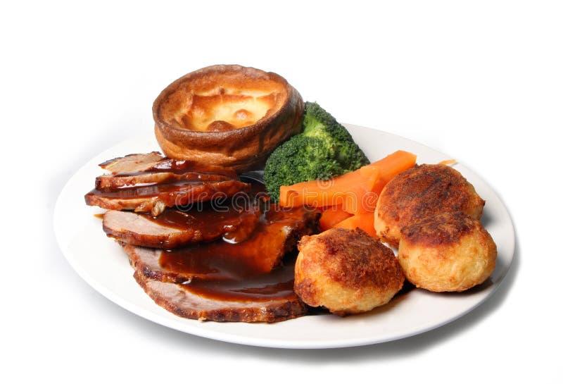 Braten-Rindfleisch-Abendessen-Mahlzeit lizenzfreies stockfoto