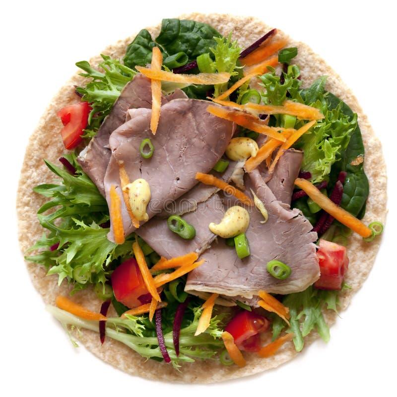 Braten-Rindfleisch und Salat-Verpackung lizenzfreie stockfotos