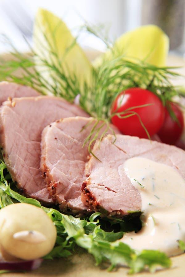 Bratenschweinefleischzartes lendenstück stockfoto
