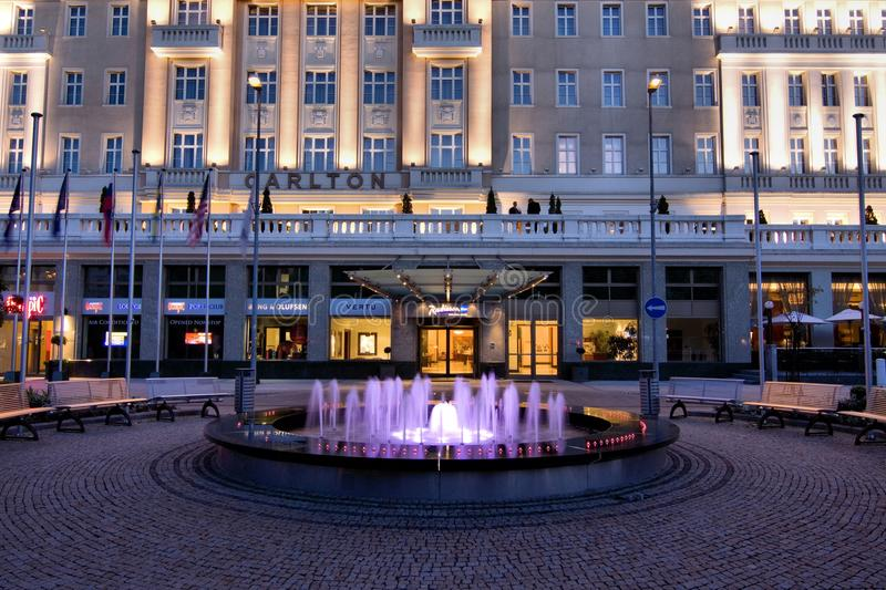 Bratislava. Carlton Hotel in Bratislava in Slovakia. Evening on Juni 6, 2011 stock photography
