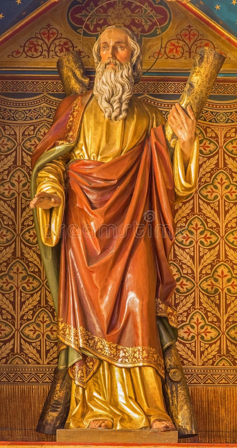 Bratislava - Apostle st. Andrew. Carved statue from 19. cent. in st. Martin cathedral. stock photo