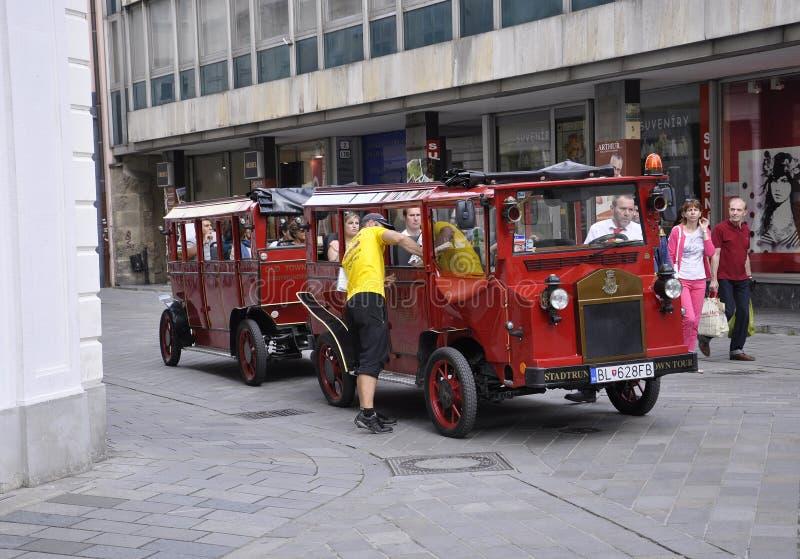 Bratislava,august 29:Sightseeing Tram Downtown of Bratislava in Slovakia stock images