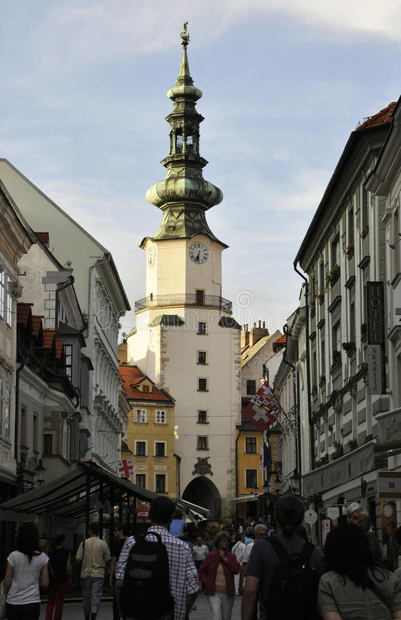 Bratislava,august 29:Street view with St Michail's Gate from Bratislava in Slovakia royalty free stock images