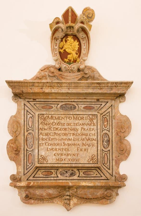 Bratislava - barocker Epitaph von Jahr 1636 in St- Anngotischer Seitenkapelle in St- Martinkathedrale. stockfoto