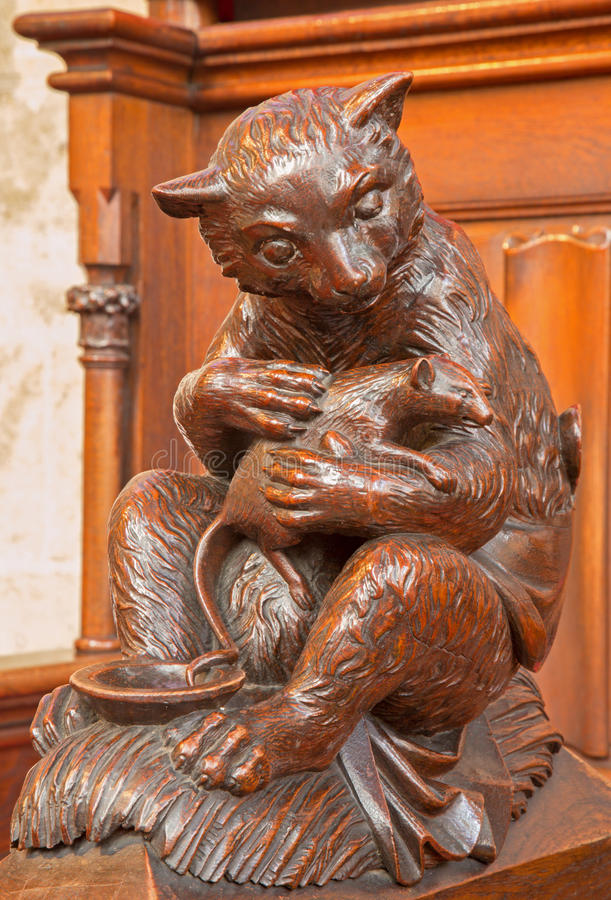 Bratislava - Bear And Rodent Carved Symbolic  Sculpture From Bench In St. Matins Cathedral Royalty Free Stock Photos