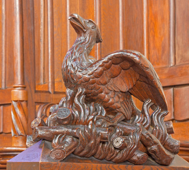 Download Bratislava - Bird On The Fire Symbolic Carved Sculpture From Bench In St. Matins Cathedral Stock Image - Image: 38098107