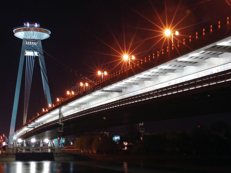 Bratislava bridge. Bratislava New bridge during night stock photo
