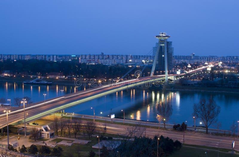 Bratislava bridge in evening stock photography