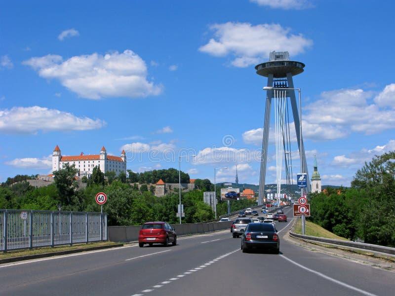 Bratislava, bridge SNP Novy most bridge royalty free stock photography
