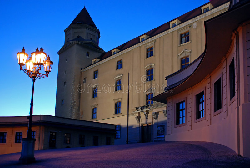 Bratislava castle. With lamp in the evening royalty free stock image