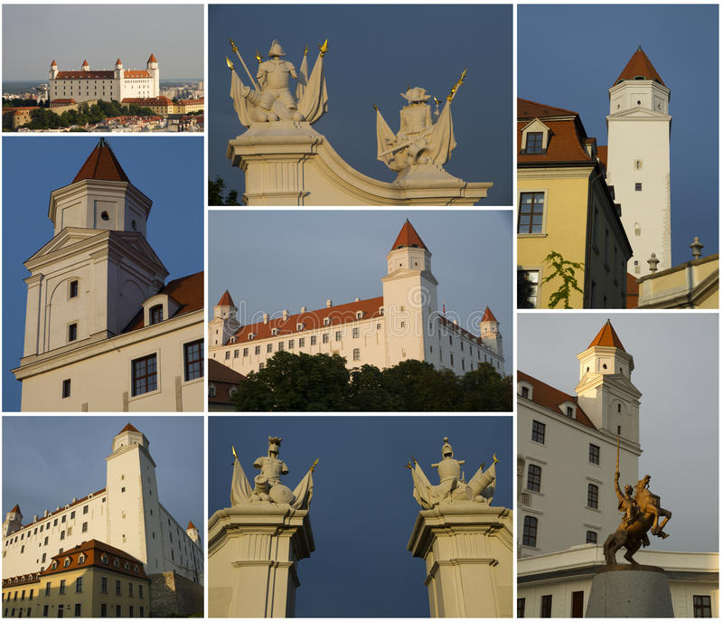 Bratislava Castle, collage royalty free stock photo