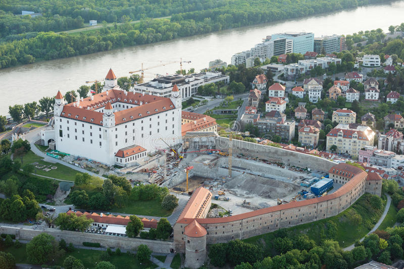 Bratislava castle and Danube river at dusk, Slovakia stock images