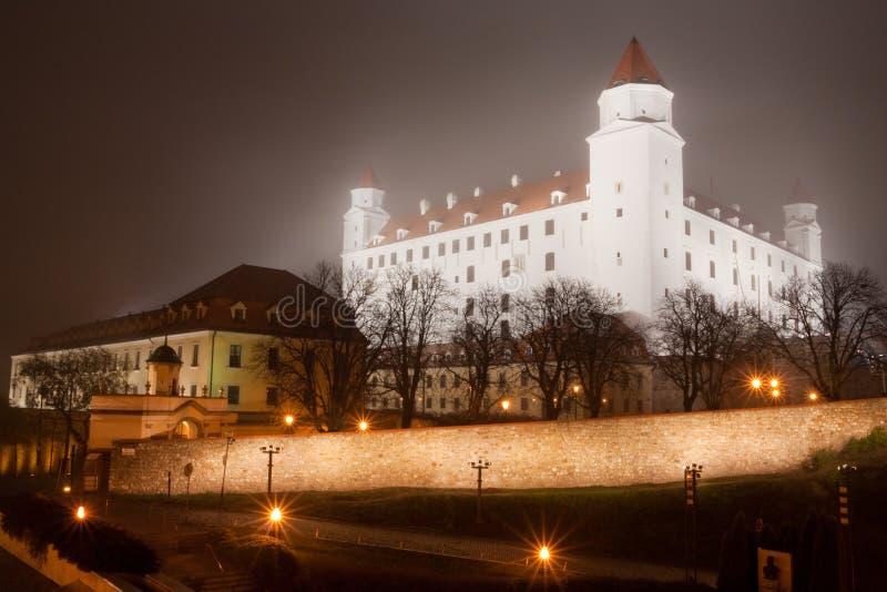 Bratislava castle in the fog stock image
