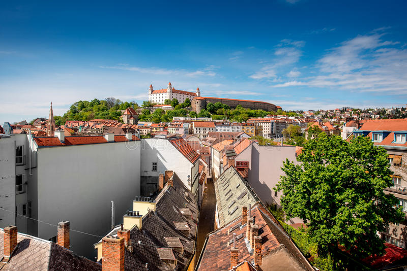 Bratislava castle hill stock images