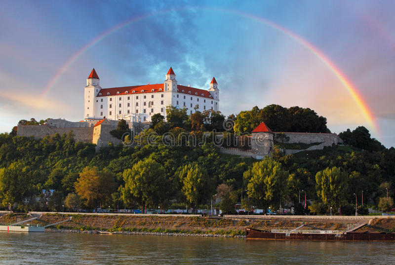 Bratislava castle, Slovakia. With river Danube royalty free stock photo