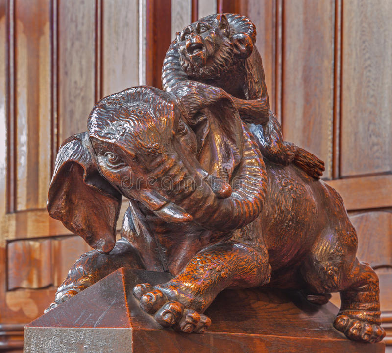 Free Bratislava - Elephant Symbolic Carved Sculpture From Bench In Presbytery In St. Matins Cathedral Royalty Free Stock Photos - 40874598