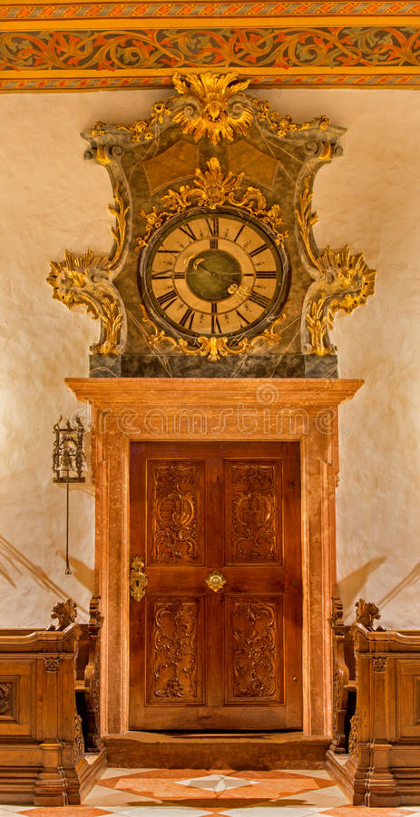 Free Bratislava - Entry In The Sacristy With The Clock In St. Martin Cathedral. Stock Photo - 37779910