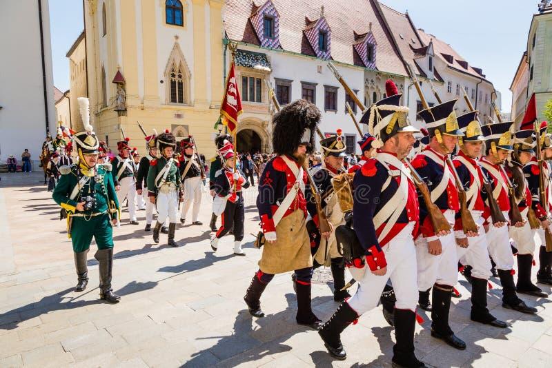 Bratislava, Eslováquia - 21 de maio de 2016: Um lembrete do cerco de N fotografia de stock