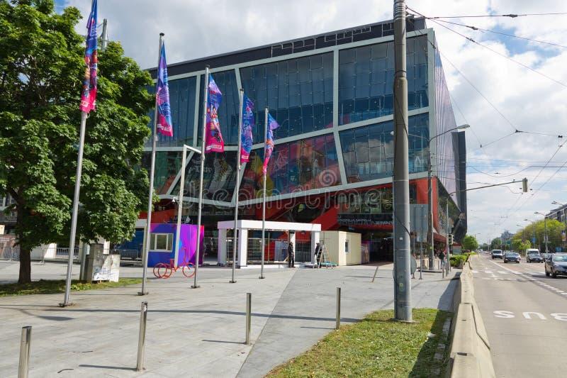 Bratislava, Eslov?quia - 7 de maio de 2019: 3 dias antes do campeonato mundial do h?quei fotografia de stock