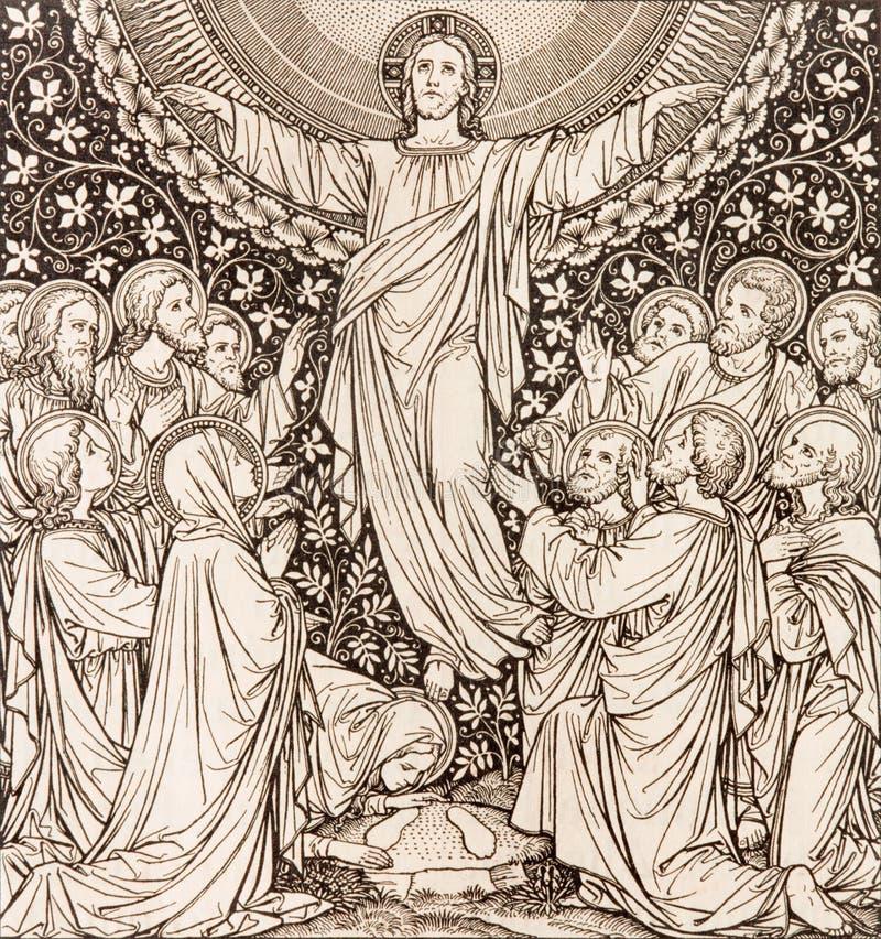 BRATISLAVA, ESLOVAQUIA, NOVIEMBRE - 21, 2016: La litografía de la ascensión en Missale Romanum imágenes de archivo libres de regalías